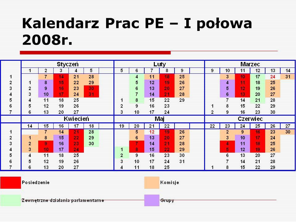 Kalendarz Prac PE – I połowa 2008r.