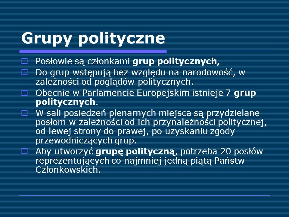 Grupy polityczne Posłowie są członkami grup politycznych, Do grup wstępują bez względu na narodowość, w zależności od poglądów politycznych. Obecnie w