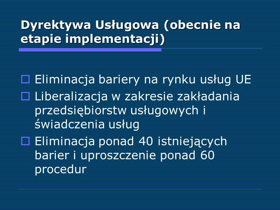 Dyrektywa Usługowa (obecnie na etapie implementacji) Eliminacja bariery na rynku usług UE Liberalizacja w zakresie zakładania przedsiębiorstw usługowy