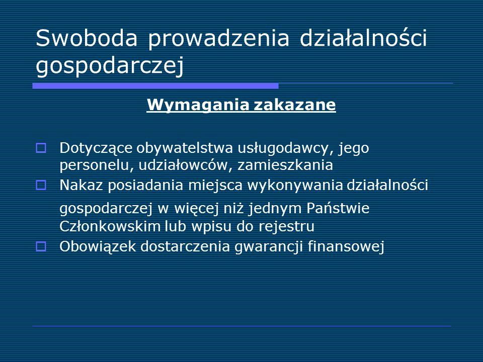 Swoboda prowadzenia działalności gospodarczej Wymagania zakazane Dotyczące obywatelstwa usługodawcy, jego personelu, udziałowców, zamieszkania Nakaz p