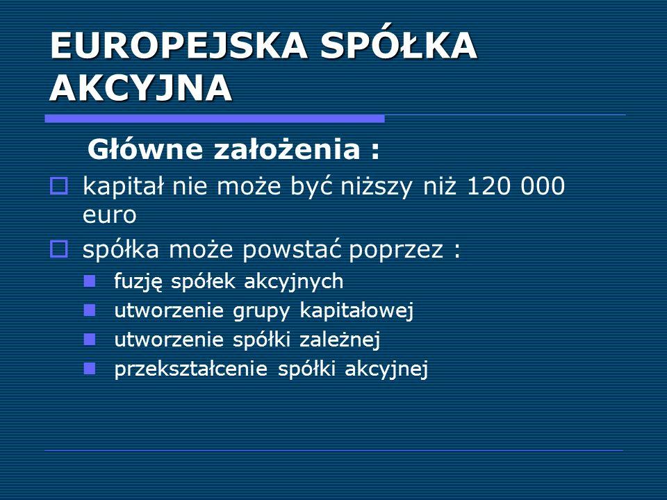 EUROPEJSKA SPÓŁKA AKCYJNA Główne założenia : kapitał nie może być niższy niż 120 000 euro spółka może powstać poprzez : fuzję spółek akcyjnych utworze