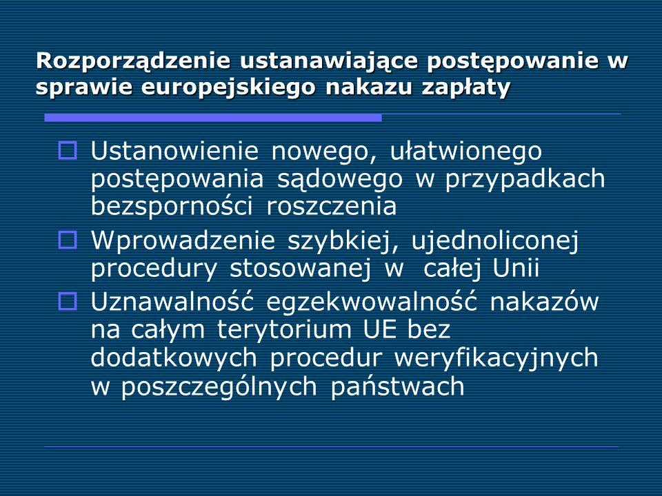 Rozporządzenie ustanawiające postępowanie w sprawie europejskiego nakazu zapłaty Ustanowienie nowego, ułatwionego postępowania sądowego w przypadkach
