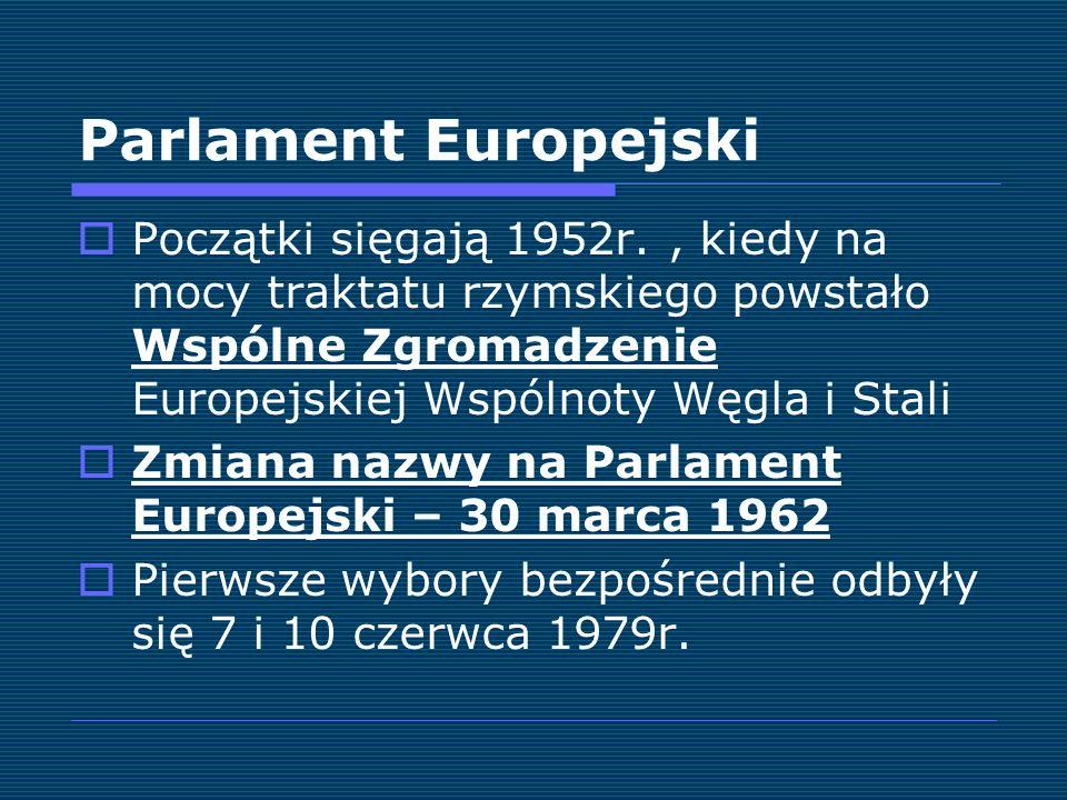 Parlament Europejski Początki sięgają 1952r., kiedy na mocy traktatu rzymskiego powstało Wspólne Zgromadzenie Europejskiej Wspólnoty Węgla i Stali Zmi