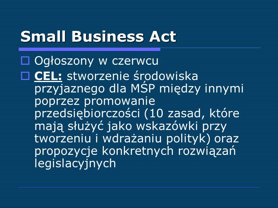 Small Business Act Ogłoszony w czerwcu CEL: stworzenie środowiska przyjaznego dla MŚP między innymi poprzez promowanie przedsiębiorczości (10 zasad, k