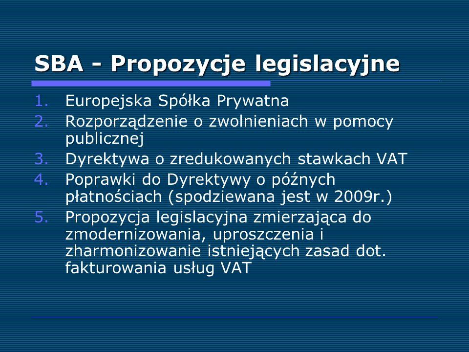 SBA - Propozycje legislacyjne 1.Europejska Spółka Prywatna 2.Rozporządzenie o zwolnieniach w pomocy publicznej 3.Dyrektywa o zredukowanych stawkach VA