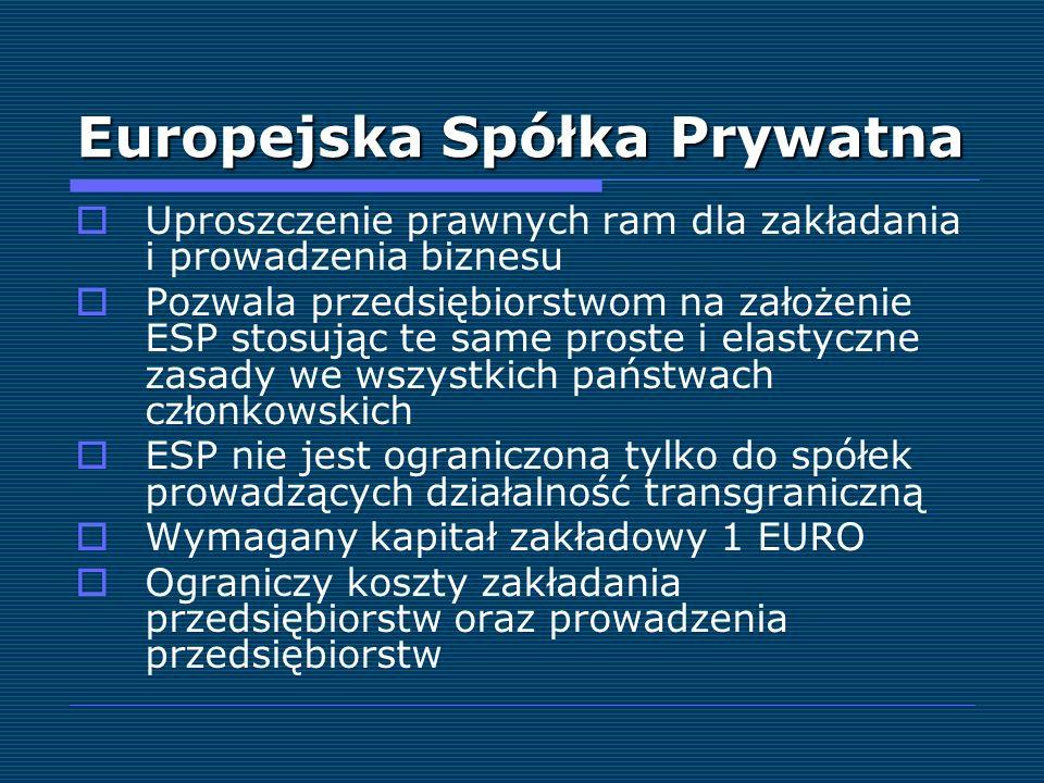 Europejska Spółka Prywatna Uproszczenie prawnych ram dla zakładania i prowadzenia biznesu Pozwala przedsiębiorstwom na założenie ESP stosując te same