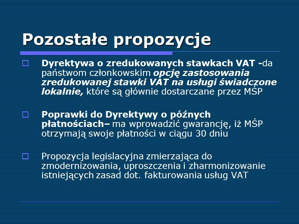 Pozostałe propozycje Dyrektywa o zredukowanych stawkach VAT -da państwom członkowskim opcję zastosowania zredukowanej stawki VAT na usługi świadczone