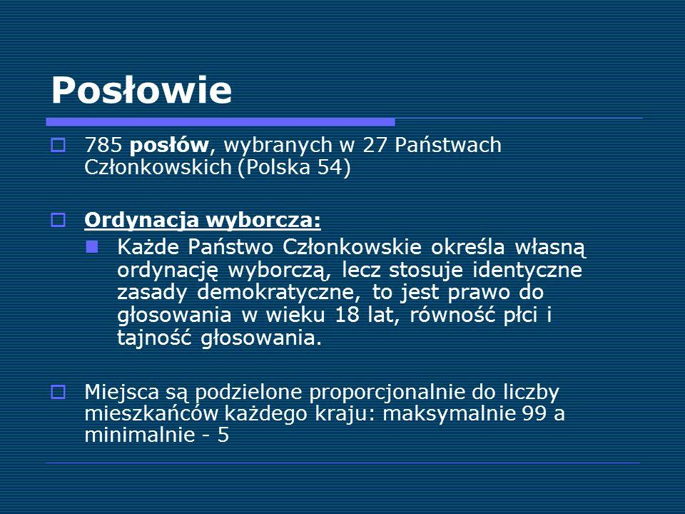 Posłowie 785 posłów, wybranych w 27 Państwach Członkowskich (Polska 54) Ordynacja wyborcza: Każde Państwo Członkowskie określa własną ordynację wyborc