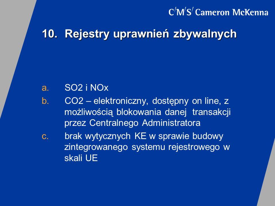 10.Rejestry uprawnień zbywalnych a.SO2 i NOx b.CO2 – elektroniczny, dostępny on line, z możliwością blokowania danej transakcji przez Centralnego Admi