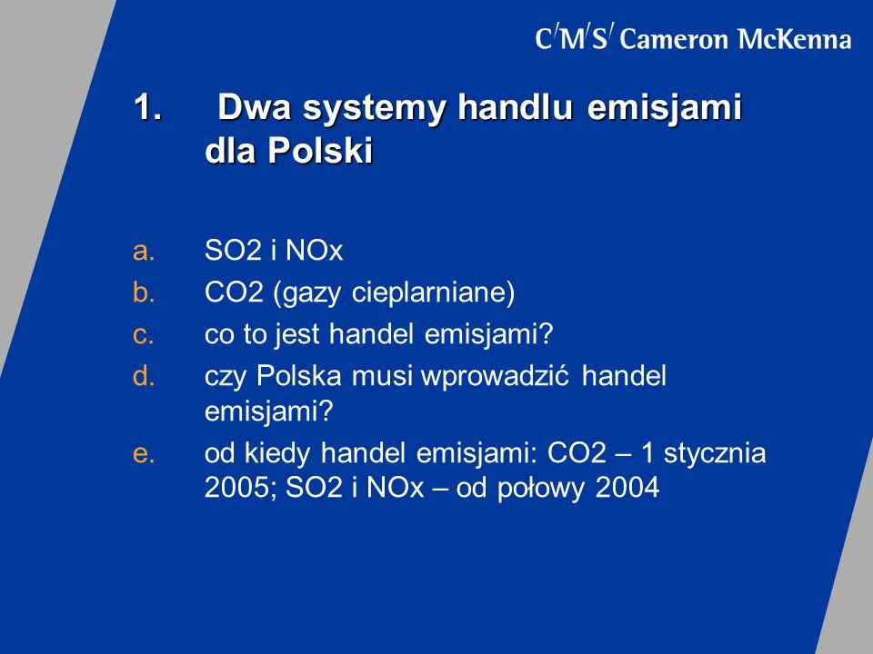 1. Dwa systemy handlu emisjami dla Polski a.SO2 i NOx b.CO2 (gazy cieplarniane) c.co to jest handel emisjami? d.czy Polska musi wprowadzić handel emis