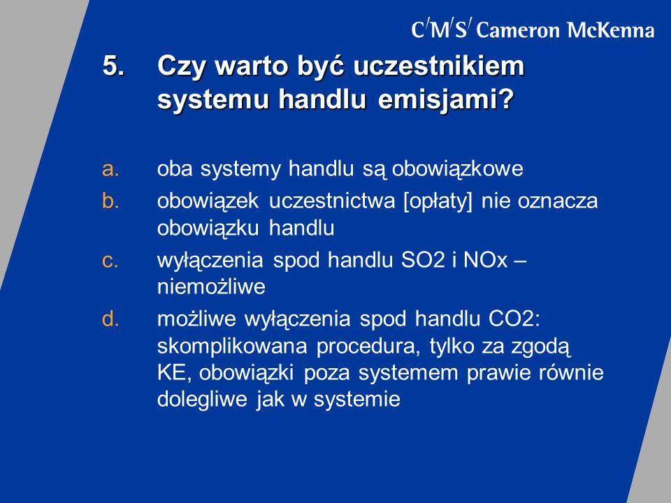 6.Podstawowe obowiązki prowadzącego instalację w handlu SO2 i NOx a.posiadanie pozwolenia na emisję do powietrza lub pozwolenia zintegrowanego b.rejestracja w systemie handlu (obowiązek opłatowy) c.zbilansowanie emisji z liczbą uprawnień zbywalnych w okresie rozliczeniowym (1 uprawnienie = 1 t emisji) d.obowiązek pomiarowy i sprawozdawczość