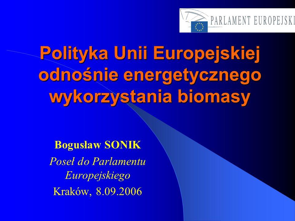 Przyszłość biomasy: Potencjał biomasy- plany wykorzystania biomasy ponad dwukrotnie w perspektywie do 2010 roku Wykorzystanie biomasy w ogrzewnictwie – dostosowanie prawodawstwa UE w tym zakresie Nowe technologie wytwarzania energii elektrycznej z biomasy Wprowadzenie biopaliw a rynek pojazdów (nowe normy) Finansowe wsparcie UE dla energii z biomasy z funduszy strukturalnych i spójności BADANIA nad biomasą: -Biomasa dla celów produkcji paliw, energii elektrycznej, ogrzewania i chłodzenia -Inteligentne sieci energetyczne -Nauki o życiu i biotechnologia na rzecz zrównoważonych produktów i procesów niespożywczych Wspólna Polityka Rolna i leśnictwo - zniżki dla rolników, uprawy energetyczne