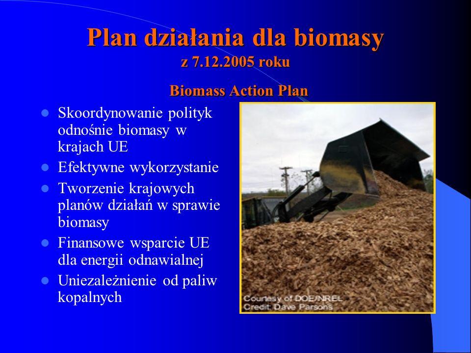 Plan działania dla biomasy z 7.12.2005 roku Biomass Action Plan Skoordynowanie polityk odnośnie biomasy w krajach UE Efektywne wykorzystanie Tworzenie