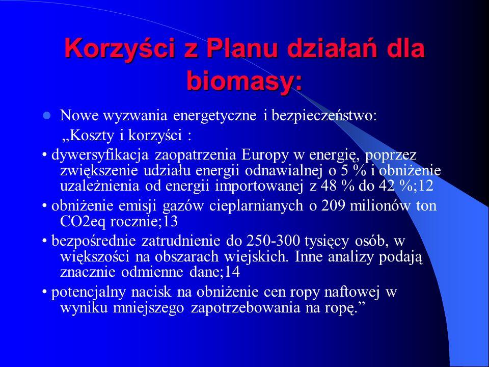 Korzyści z Planu działań dla biomasy: Nowe wyzwania energetyczne i bezpieczeństwo: Koszty i korzyści : dywersyfikacja zaopatrzenia Europy w energię, p