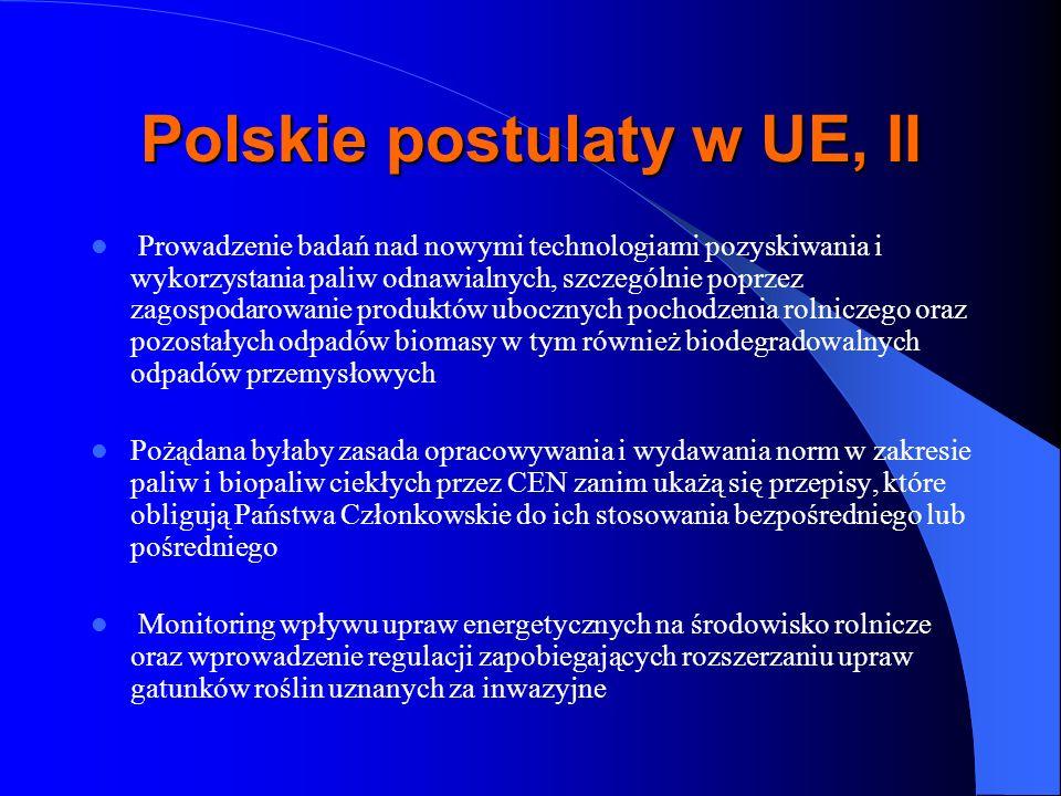 Polskie postulaty w UE, II Prowadzenie badań nad nowymi technologiami pozyskiwania i wykorzystania paliw odnawialnych, szczególnie poprzez zagospodaro