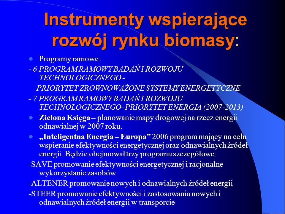 Instrumenty wspierające rozwój rynku biomasy: Programy ramowe : - 6 PROGRAM RAMOWY BADAŃ I ROZWOJU TECHNOLOGICZNEGO - PRIORYTET ZROWNOWAŻONE SYSTEMY E