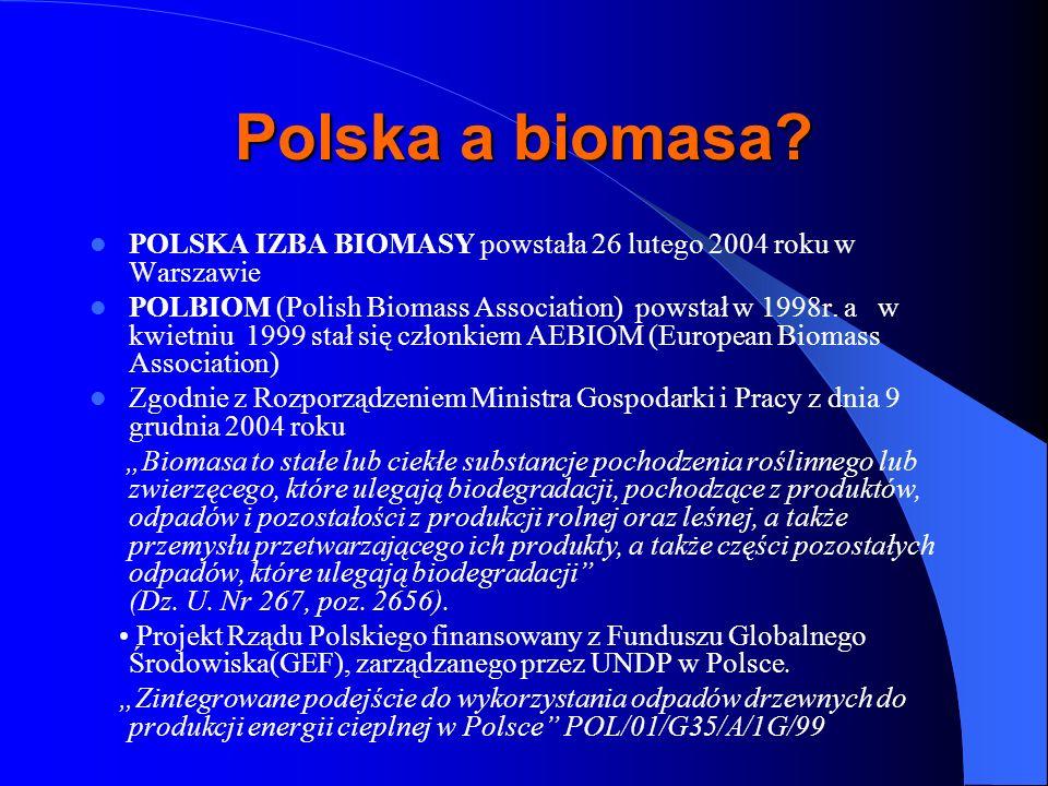 Polska a biomasa? POLSKA IZBA BIOMASY powstała 26 lutego 2004 roku w Warszawie POLBIOM (Polish Biomass Association) powstał w 1998r. a w kwietniu 1999