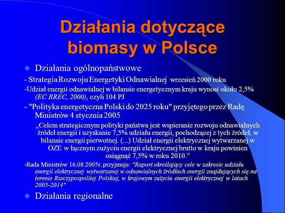 Działania dotyczące biomasy w Polsce Działania ogólnopaństwowe - Strategia Rozwoju Energetyki Odnawialnej wrzesień 2000 roku -Udział energii odnawialn