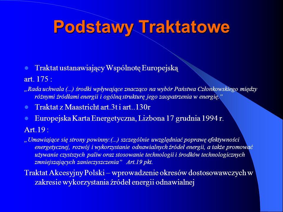 Podstawy Traktatowe Traktat ustanawiający Wspólnotę Europejską art. 175 : Rada uchwala (...) środki wpływające znacząco na wybór Państwa Członkowskieg