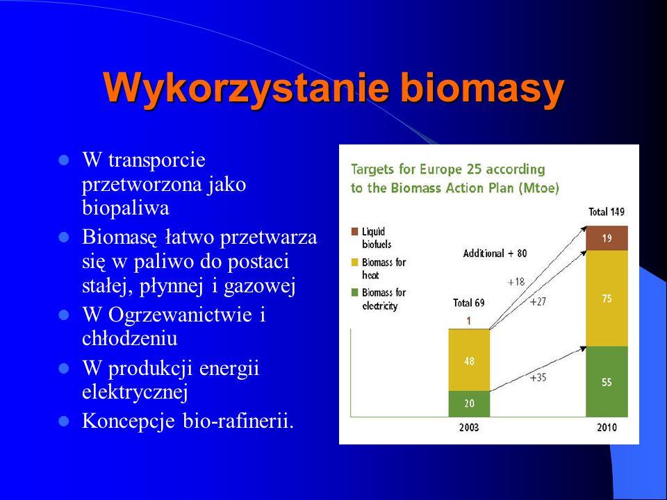 Wykorzystanie biomasy W transporcie przetworzona jako biopaliwa Biomasę łatwo przetwarza się w paliwo do postaci stałej, płynnej i gazowej W Ogrzewani