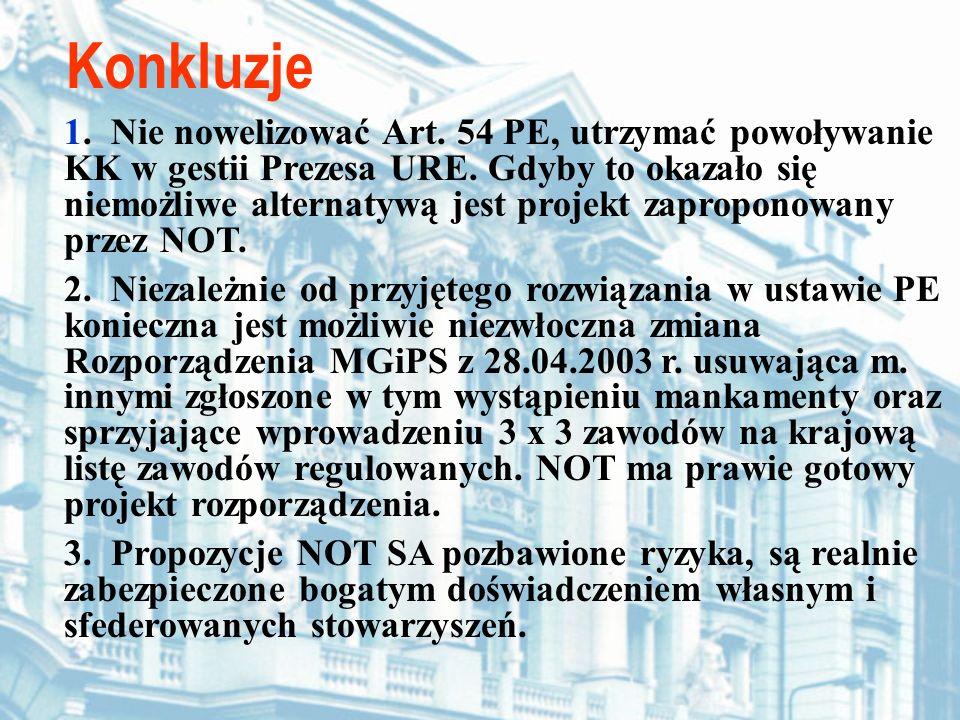 Konkluzje 1. Nie nowelizować Art. 54 PE, utrzymać powoływanie KK w gestii Prezesa URE. Gdyby to okazało się niemożliwe alternatywą jest projekt zaprop