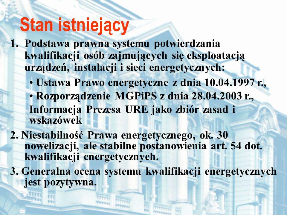 1.Podstawa prawna systemu potwierdzania kwalifikacji osób zajmujących się eksploatacją urządzeń, instalacji i sieci energetycznych: Stan istniejący Us