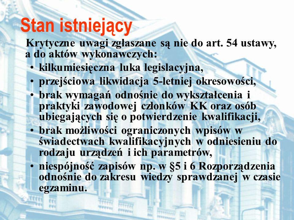 Stan istniejący Krytyczne uwagi zgłaszane są nie do art. 54 ustawy, a do aktów wykonawczych: kilkumiesięczna luka legislacyjna, przejściowa likwidacja