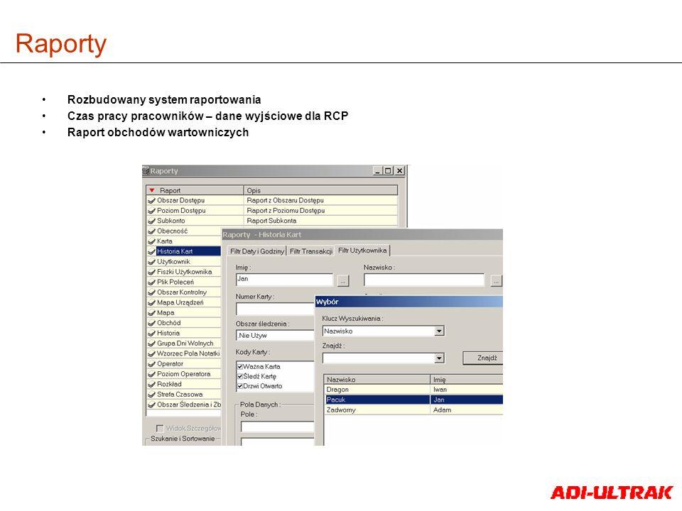 Raporty Rozbudowany system raportowania Czas pracy pracowników – dane wyjściowe dla RCP Raport obchodów wartowniczych