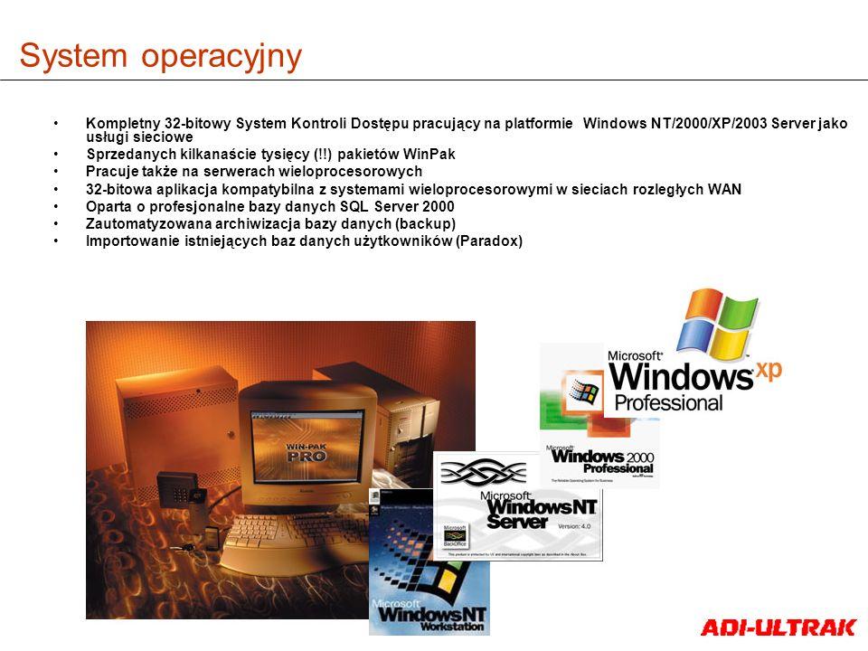 System operacyjny Kompletny 32-bitowy System Kontroli Dostępu pracujący na platformie Windows NT/2000/XP/2003 Server jako usługi sieciowe Sprzedanych
