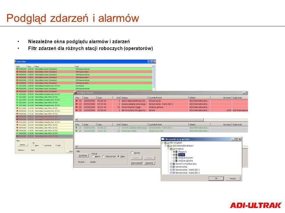Podgląd zdarzeń i alarmów Niezależne okna podglądu alarmów i zdarzeń Filtr zdarzeń dla różnych stacji roboczych (operatorów)