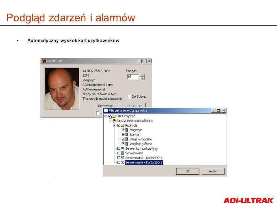 Podgląd zdarzeń i alarmów Automatyczny wyskok kart użytkowników