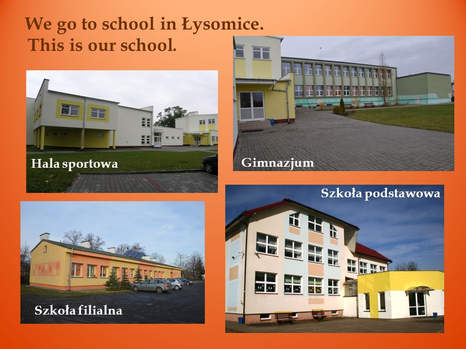 We go to school in Łysomice.This is our school.