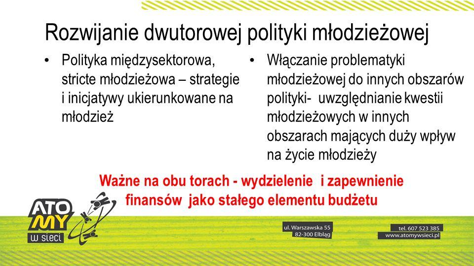 Rozwijanie dwutorowej polityki młodzieżowej Polityka międzysektorowa, stricte młodzieżowa – strategie i inicjatywy ukierunkowane na młodzież Włączanie