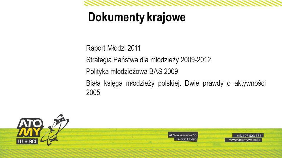 Dokumenty krajowe Raport Młodzi 2011 Strategia Państwa dla młodzieży 2009-2012 Polityka młodzieżowa BAS 2009 Biała księga młodzieży polskiej. Dwie pra