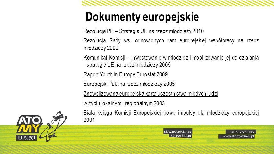 Dokumenty europejskie Rezolucja PE – Strategia UE na rzecz młodzieży 2010 Rezolucja Rady ws. odnowionych ram europejskiej współpracy na rzecz młodzież