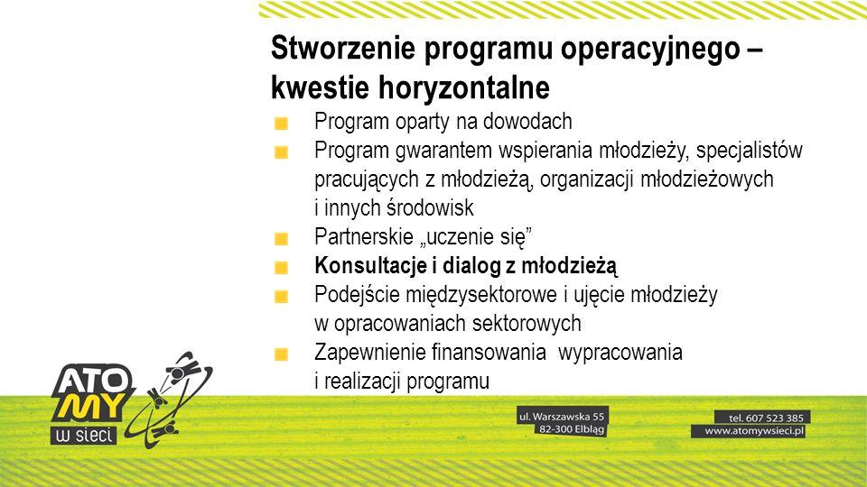 Stworzenie programu operacyjnego – kwestie horyzontalne Program oparty na dowodach Program gwarantem wspierania młodzieży, specjalistów pracujących z
