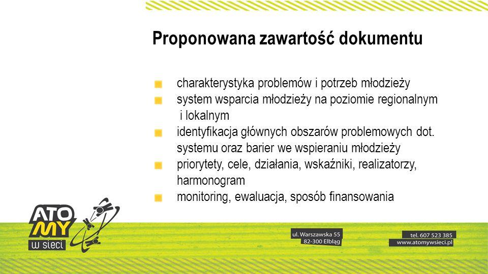 Proponowana zawartość dokumentu charakterystyka problemów i potrzeb młodzieży system wsparcia młodzieży na poziomie regionalnym i lokalnym identyfikacja głównych obszarów problemowych dot.