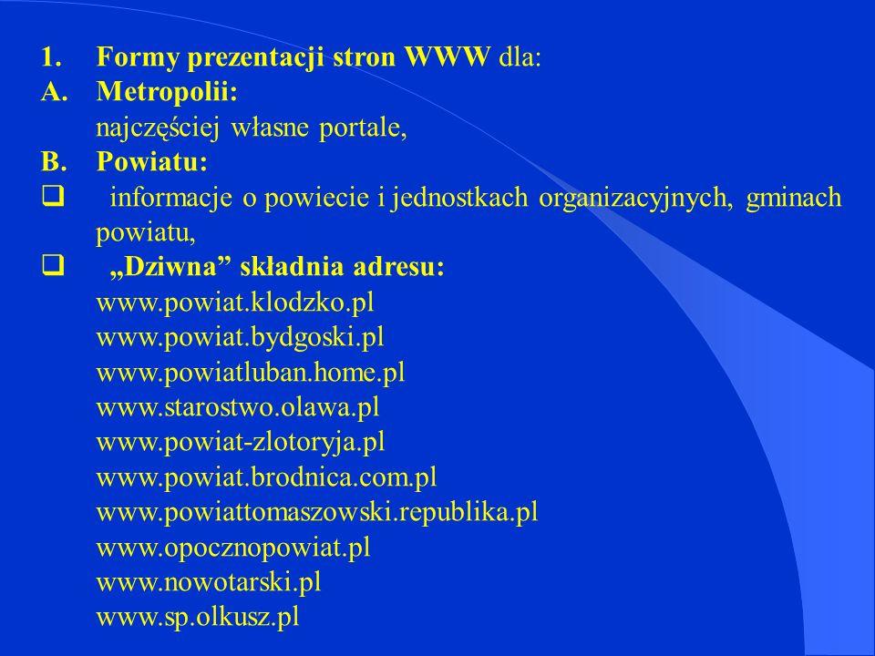 Propozycja – jeden adres dla powiatu, miasta i gminy.
