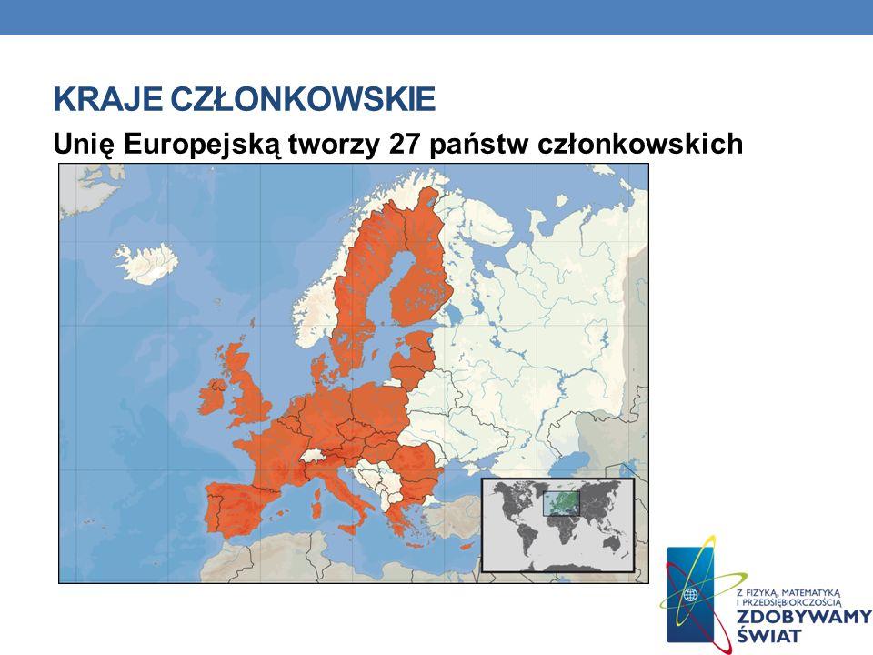 KRAJE CZŁONKOWSKIE Unię Europejską tworzy 27 państw członkowskich