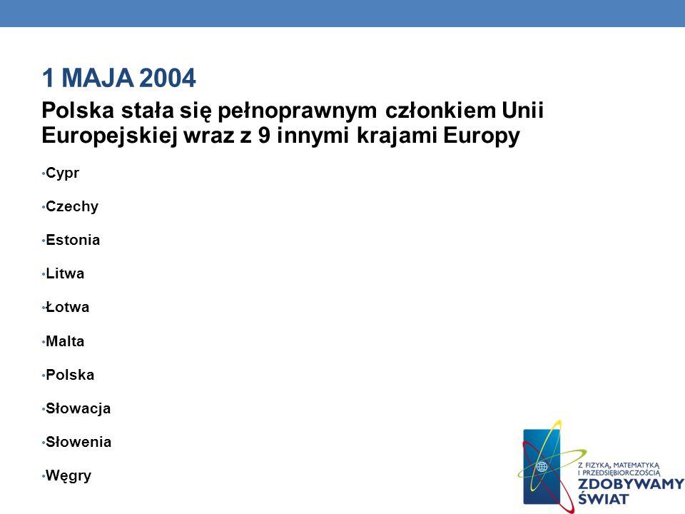 1 MAJA 2004 Polska stała się pełnoprawnym członkiem Unii Europejskiej wraz z 9 innymi krajami Europy Cypr Czechy Estonia Litwa Łotwa Malta Polska Słowacja Słowenia Węgry