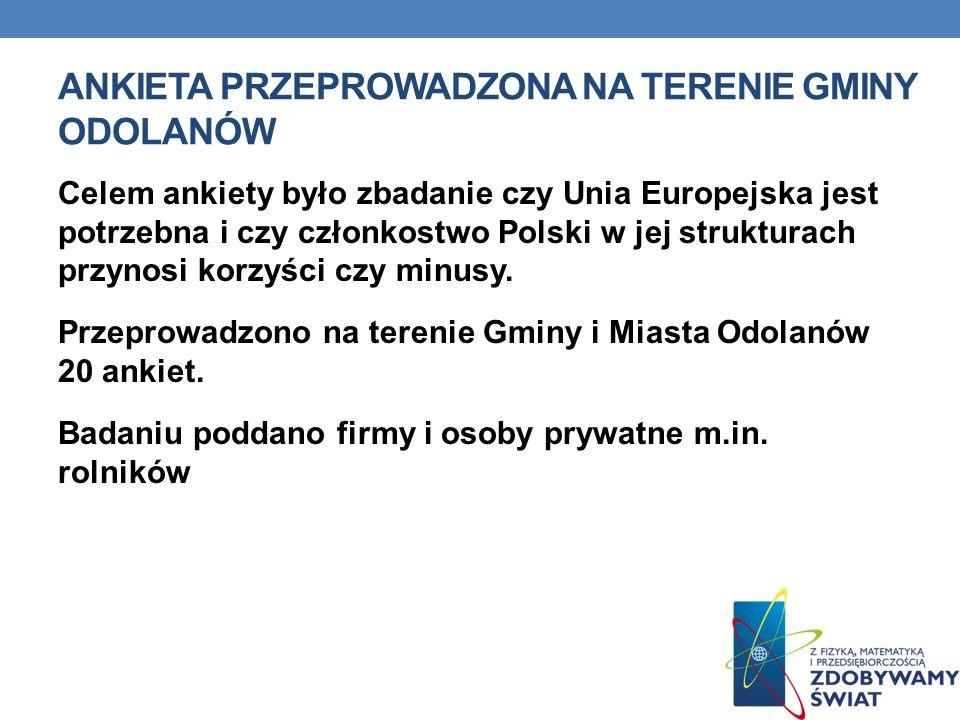 ANKIETA PRZEPROWADZONA NA TERENIE GMINY ODOLANÓW Celem ankiety było zbadanie czy Unia Europejska jest potrzebna i czy członkostwo Polski w jej strukturach przynosi korzyści czy minusy.