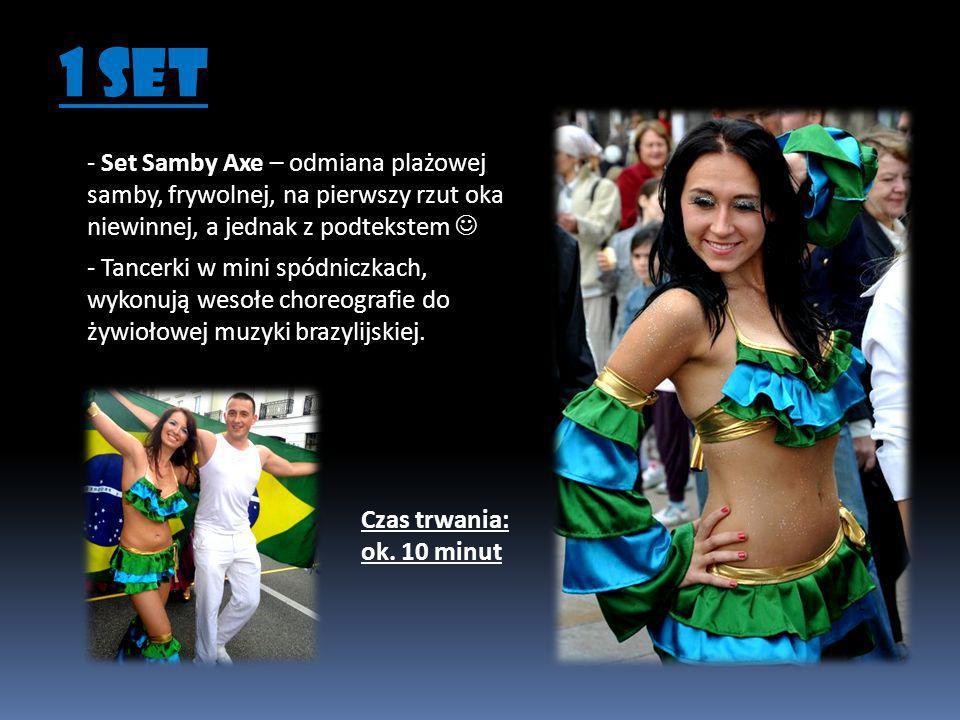 - W trakcie 15 minutowego show Dołączają tancerki Samba Paraiso w oryginalnych brazylijskich skąpych strojach z pióropuszami na głowie.