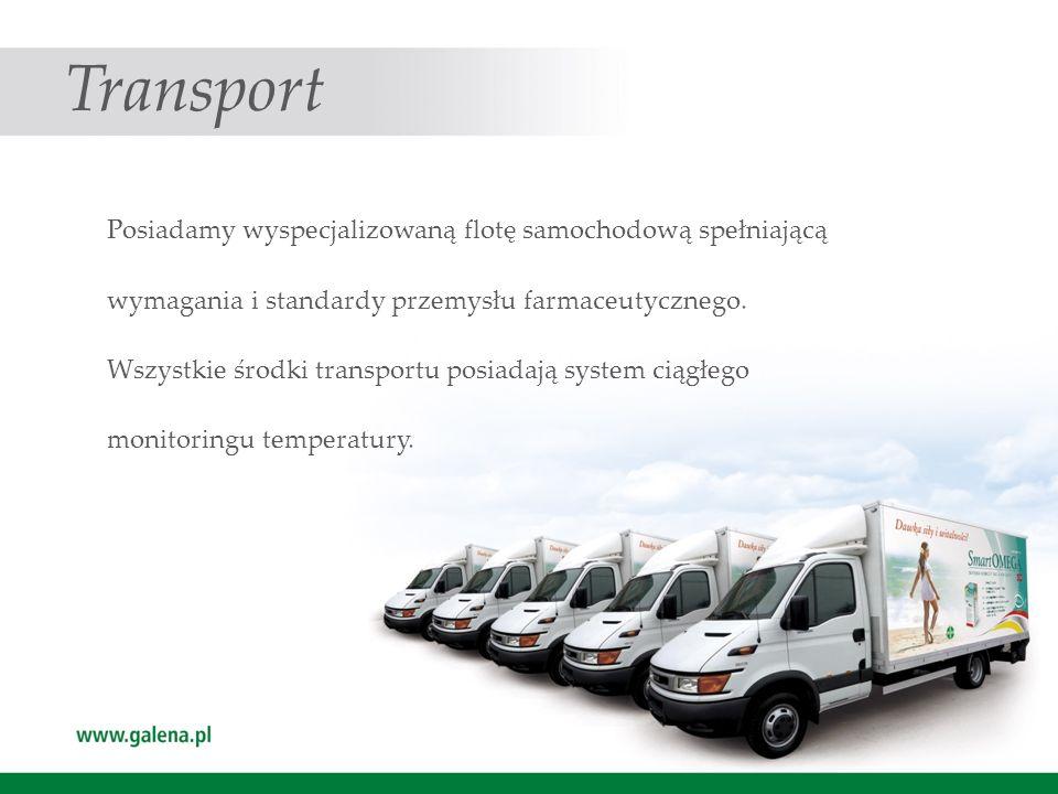 Transport Posiadamy wyspecjalizowaną flotę samochodową spełniającą wymagania i standardy przemysłu farmaceutycznego. Wszystkie środki transportu posia
