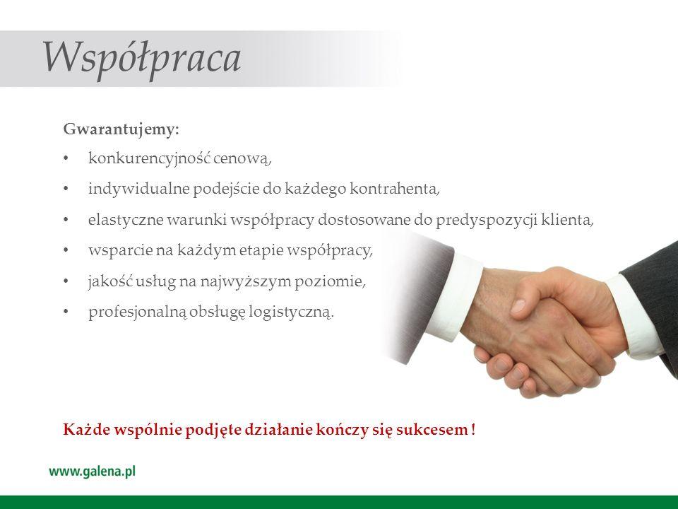 Współpraca Gwarantujemy: konkurencyjność cenową, indywidualne podejście do każdego kontrahenta, elastyczne warunki współpracy dostosowane do predyspoz