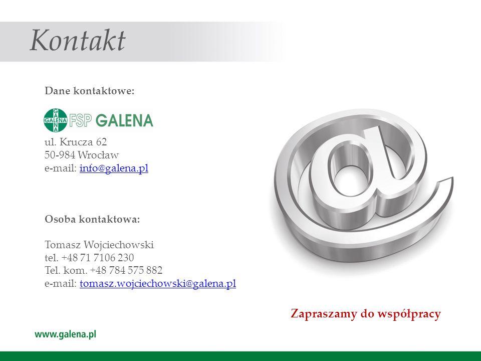 Kontakt Dane kontaktowe: ul. Krucza 62 50-984 Wrocław e-mail: info@galena.plinfo@galena.pl Osoba kontaktowa: Tomasz Wojciechowski tel. +48 71 7106 230