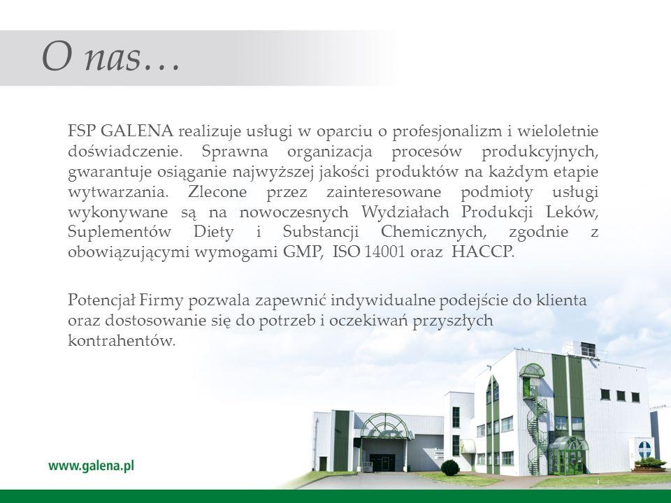 O nas… FSP GALENA realizuje usługi w oparciu o profesjonalizm i wieloletnie doświadczenie. Sprawna organizacja procesów produkcyjnych, gwarantuje osią