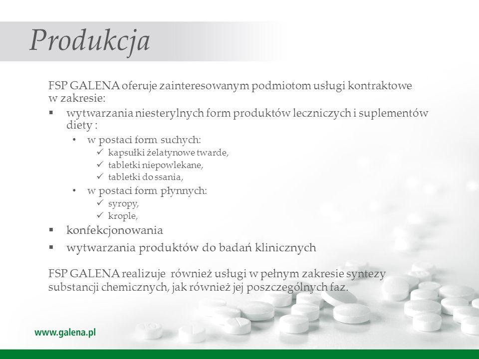 Produkcja FSP GALENA oferuje zainteresowanym podmiotom usługi kontraktowe w zakresie: wytwarzania niesterylnych form produktów leczniczych i suplement