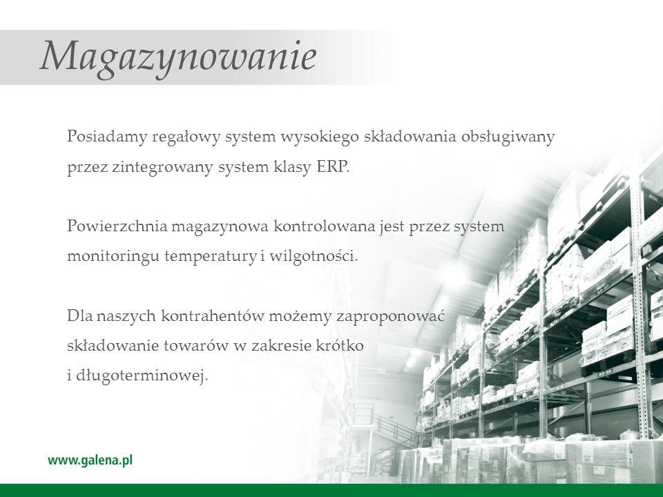 Magazynowanie Posiadamy regałowy system wysokiego składowania obsługiwany przez zintegrowany system klasy ERP. Powierzchnia magazynowa kontrolowana je
