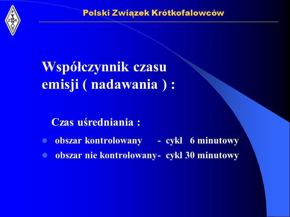 Współczynnik czasu emisji ( nadawania ) : obszar kontrolowany- cykl 6 minutowy obszar nie kontrolowany- cykl 30 minutowy Polski Związek Krótkofalowców Czas uśredniania :
