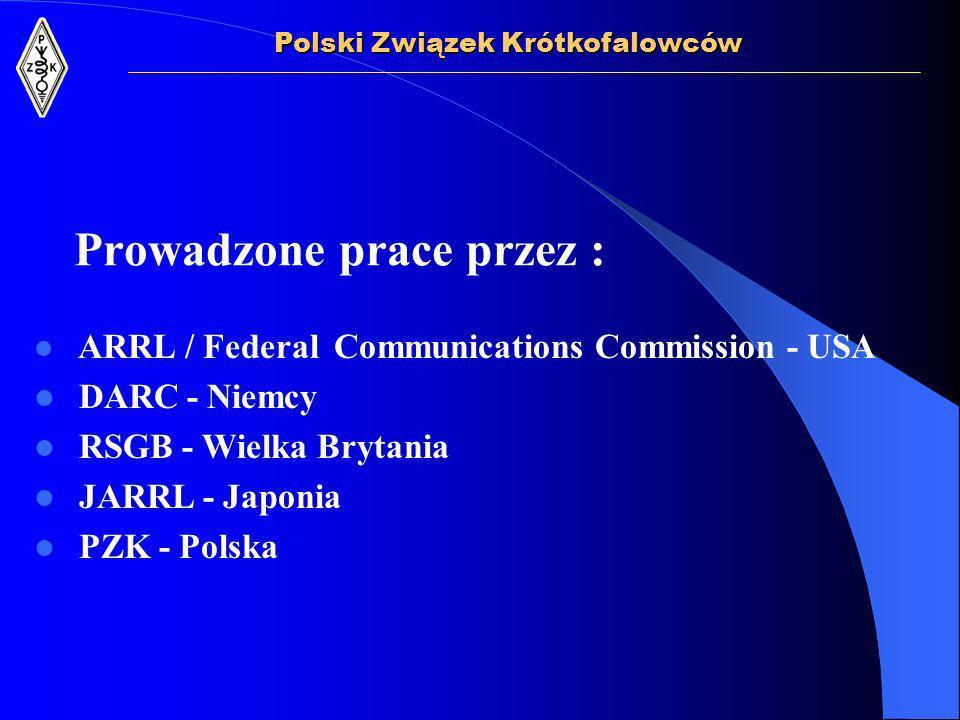 Prowadzone prace przez : ARRL / Federal Communications Commission - USA DARC - Niemcy RSGB - Wielka Brytania JARRL - Japonia PZK - Polska Polski Związek Krótkofalowców